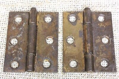 2 Door hinges interior shutter rustic copper rust 2 1/8 x 1 3/4 removable pin