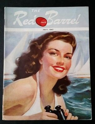 July 1947 The Red Barrel, Drink Coca Cola Magazine. Beautiful Lady Sailing