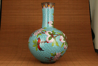 big antique chinese royal cloisonne hand carved peach vase