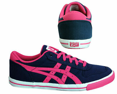 Asics Onitsuka Tiger Aaron GS Lace Up Kids Canvas Trainers Navy C343N 5018 B79A