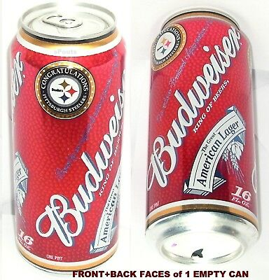 2008 Pittsburgh Steelers Budweiser Pint Nfl Bud Lager Beer Can Sport Pa Football