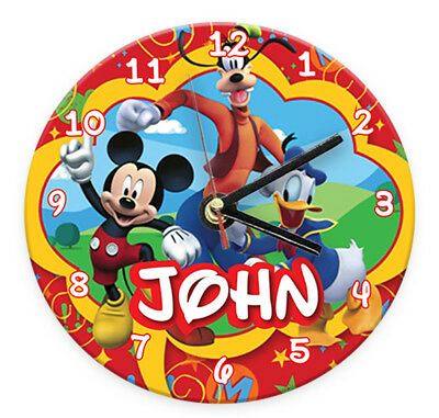 Personalised Any Name Mickey Minnie Wall Clock Custom Printed Gift Kids Bedroom