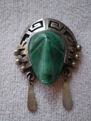 Vintage Sterling Silver/Signed Taxco Green Onyx Mask Brooch/Pendant