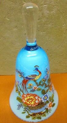 """Beautiful Hand Painted Bell Made In Italy 6.5"""" Colorful Bird Flowers Vine Bowl"""