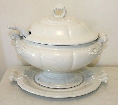 RED CLIFF Ironstone Large Oval SOUP TUREEN with UNDERPLATE and LADLE, Vintage