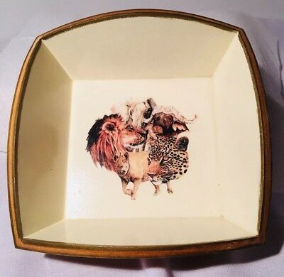 Square Wooden Bowl With Animal Pictures In Bottom