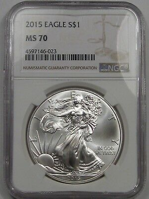 Perfect BU GEM 2015 SAE Silver American Eagle. 1 Troy oz .999 Fine. NGC MS70.
