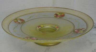 Vintage Yellow Glass Center Piece Hand Painted Enamel & Candy Dish, Bowl, Stand