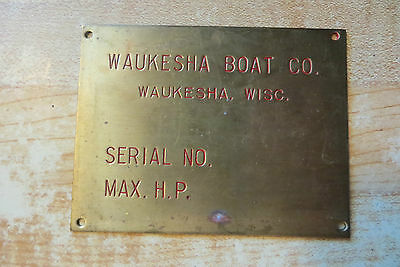 Waukesha Boat Company brass advertising boat sign tag emblem,sales sample old