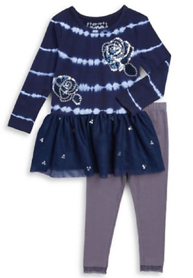 "NEW Flapdoodles Girls ""NAVY TIE-DYE SEQUIN ROSES"" Size 3T Tunic Top Leggings NWT"