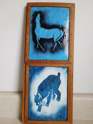 Asian Chinese or Japanese vintage Glazed Blue HORSE BOBCAT CERAMIC TILES wall