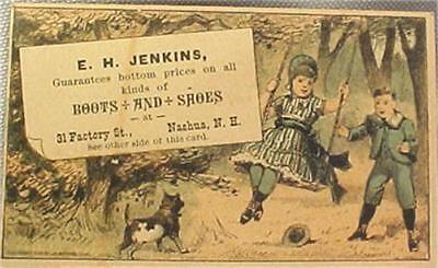 Victorian Trade Advertising Card E H Jenkins Boots Shoes Nashua New Hampshire