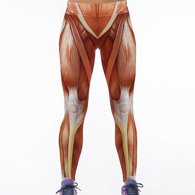 Lady Sport Leggings Muscle 3D Graphic Full Printed Spring Summer Autumn Trousers