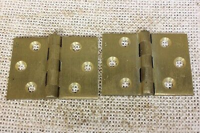 2 SATIN cast brass BUTT Hinges door interior shutter vintage old 2 x 1 1/2""