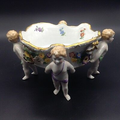 Von Schierholz Figural Cherub Boy Angel Compote Console Center Bowl