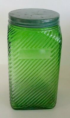 Original! 1930's Owens Illinois Forest Green, 40 oz. Canister Diagonal Ribbed