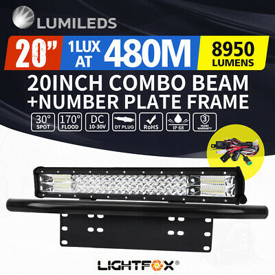 20inch Philips LED Light Bar Spot Flood Work Driving Bar 23'' Number Plate Frame