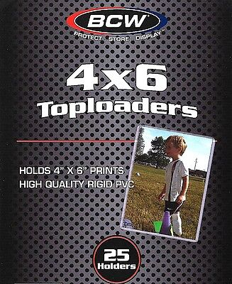 25 BCW 4X6 Rigid Topload Holder Toploader Photo Postcard Protector