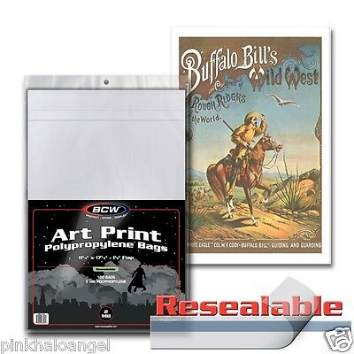 200 11X17 Resealable Bags and Boards Art Print Photo Document Acid Free BCW