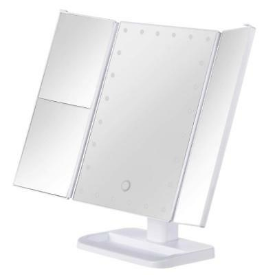 MRah Hollywood Makeup Vanity Mirror - White Lighted Tabletops Mirror, LED...