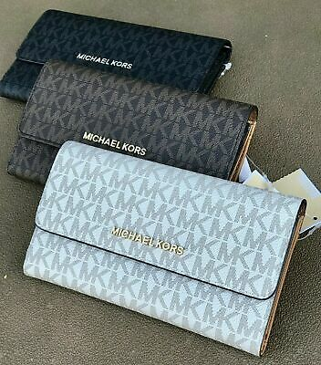Nwt Michael Kors Jet Set Travel Carryall Mk Signature Flap Wallet Vanilla Brown