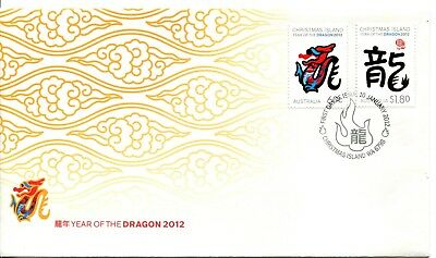 2012 Christmas Island Year of The Dragon (Gummed Stamps) FDC