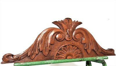 Achitectural crown scroll leaves pediment antique french hand carved wood crest