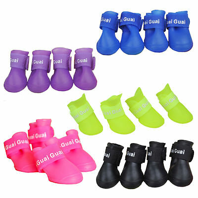4Pcs/Set Waterproof Dog Boots Candy Color Rubber Pet Rain Shoes Booties S/M/L UK