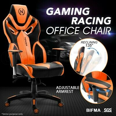 PU Leather Computer Office Chair Ergonomic High Back Gaming Racr Sport Footrest