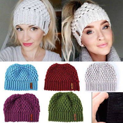 Women's Ponytail Beanie Hat Messy Bun Stretch Knitted Cap Warm Hats Winter