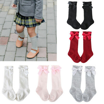 UK Baby Girls 0-4Y Cotton Socks Bow Long Stockings Kids Knee High Cute Socks