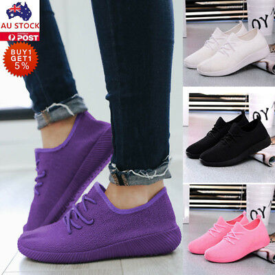 Women Ladies Slip On Mesh Sneakers Trainers Gym Running Sports Flat Shoes 35-40