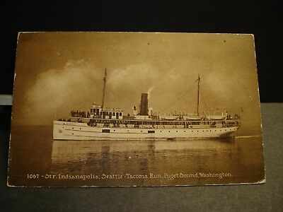 Steamer INDIANAPOLIS Naval Cover 1911 SEATTLE-TACOMA Run, PUGET SOUND, WASH