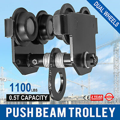 0.5 Ton Push Beam Track Roller Trolley Overhead Washers Included Solid Steel