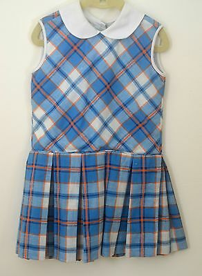 Beautiful Vintage Plaid Girls Dress With Dropped Waist & Pleats Tt15