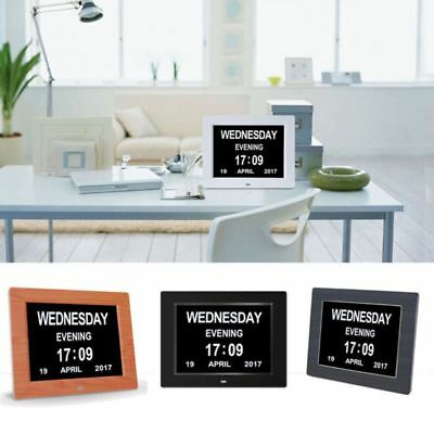 """8"""" LED Dementia Digital Calendar Clock Day/Week/Month/Year Large Letter Gift New"""