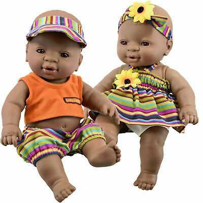 "12"" Anatomically Correct Black Twin Baby Dolls Dark Skin Ethnic African Doll"