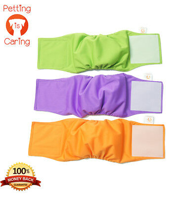 Male DOG WRAPS Washable & Reusable by PETTING IS CARING - Belly Band set of 3