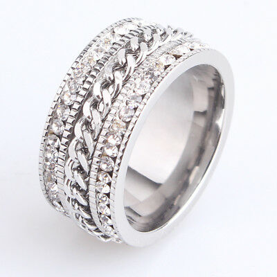 Men's Stainless Steel Full Crystal Chain Band Wedding Rhinestone Rings Size 6-11