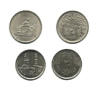 "Egypt New 20 Piastres (2 Types) Coins ""unc"" A1022  Low Price & $1.00 Usa Ship"