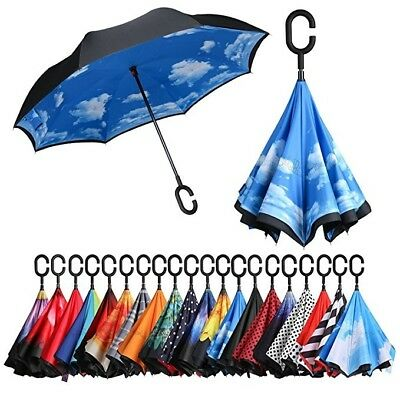 Windproof Double Layer Upside Down Inverted Umbrella C-handle Reverse-Design New