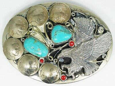 Vintage Squaw Wrap Belt Buckle Turquoise and Red Coral with Buffalo Nickles - J8