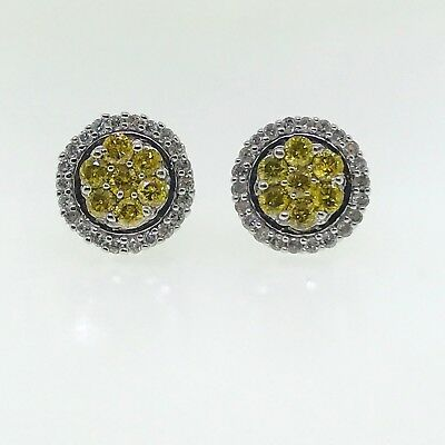 10K White Gold 1.00 Cttw Yellow And White Diamond Earrings