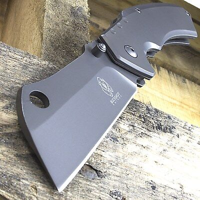 "8"" BUCKSHOT CLEAVER BLADE STYLE SPRING ASSISTED FOLDING POCKET KNIFE Open EDC"
