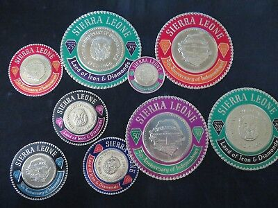 Sierra Leone 1966 5th Anniv. of Indep. Gold Coin Stamps -  Set of 9