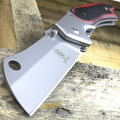 "8"" BUCKSHOT CLEAVER STYLE RED WOOD SPRING ASSISTED FOLDING POCKET KNIFE Open"