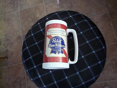 Vintage Old PABST BEER Plastic Insulated  Mug Thermo-Serv Cup Lightly Used Bar