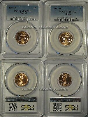 2017 P & D Lincoln SHIELD Cent 2 Coin Set 1c PCGS MS67RD