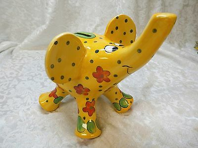 Whimsical & Cute! Yellow Elephant Piggy Bank W/ Orange Flowers & Polka Dots