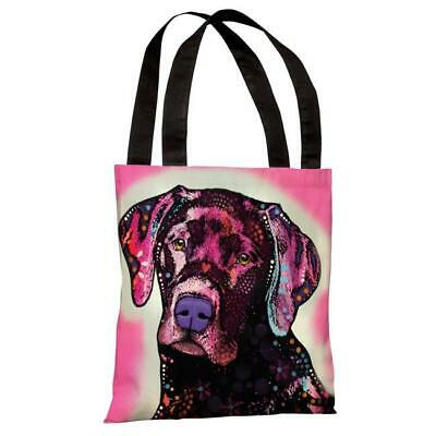 One Bella Casa 71862TT18P 18 in. Black Lab Polyester Tote Bag by Dean Russo